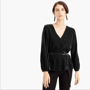 J. Crew Tall Faux-wrap top in drapey velvet Size 8